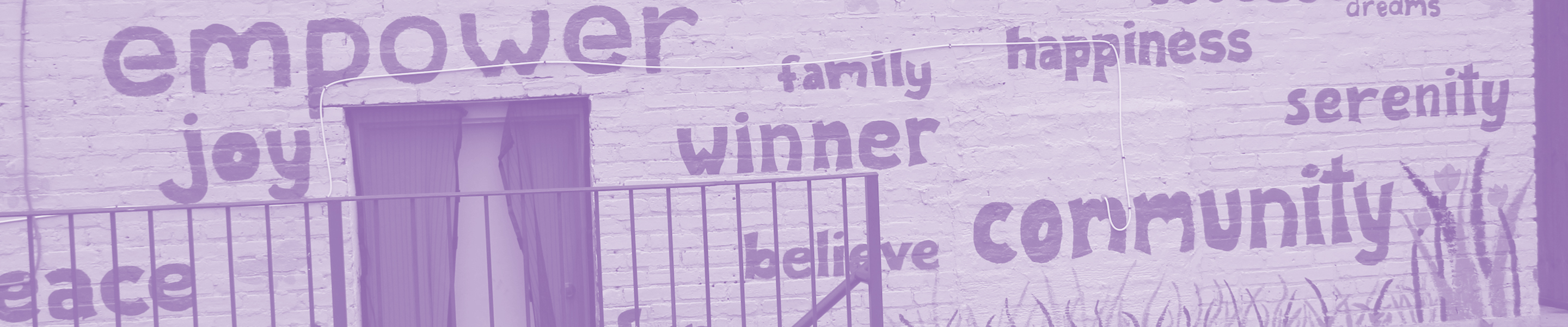 Wall with uplifting words painted on it