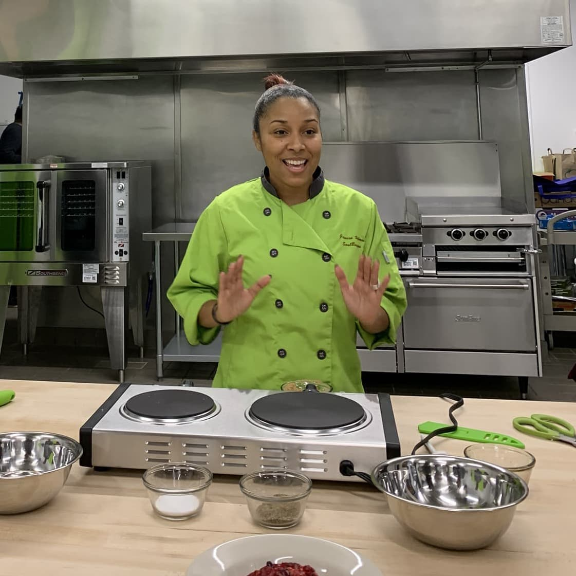 Chef cooking at Englewood Community Kitchens